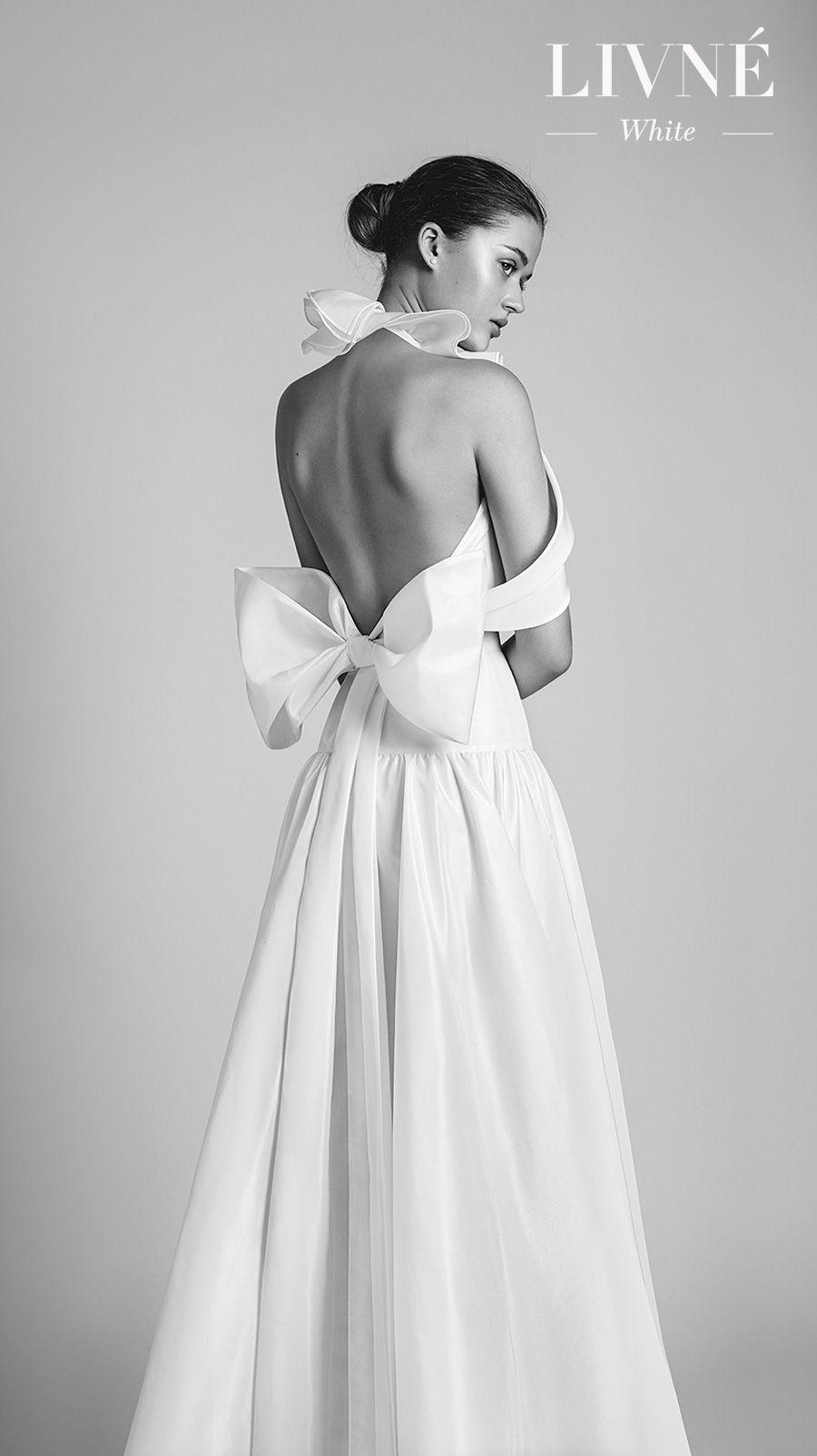 alon livne 2018 2019 white bridal sleeveless halter high neck simple clean romantic a  line wedding dress open ribbon back (tilda) mv