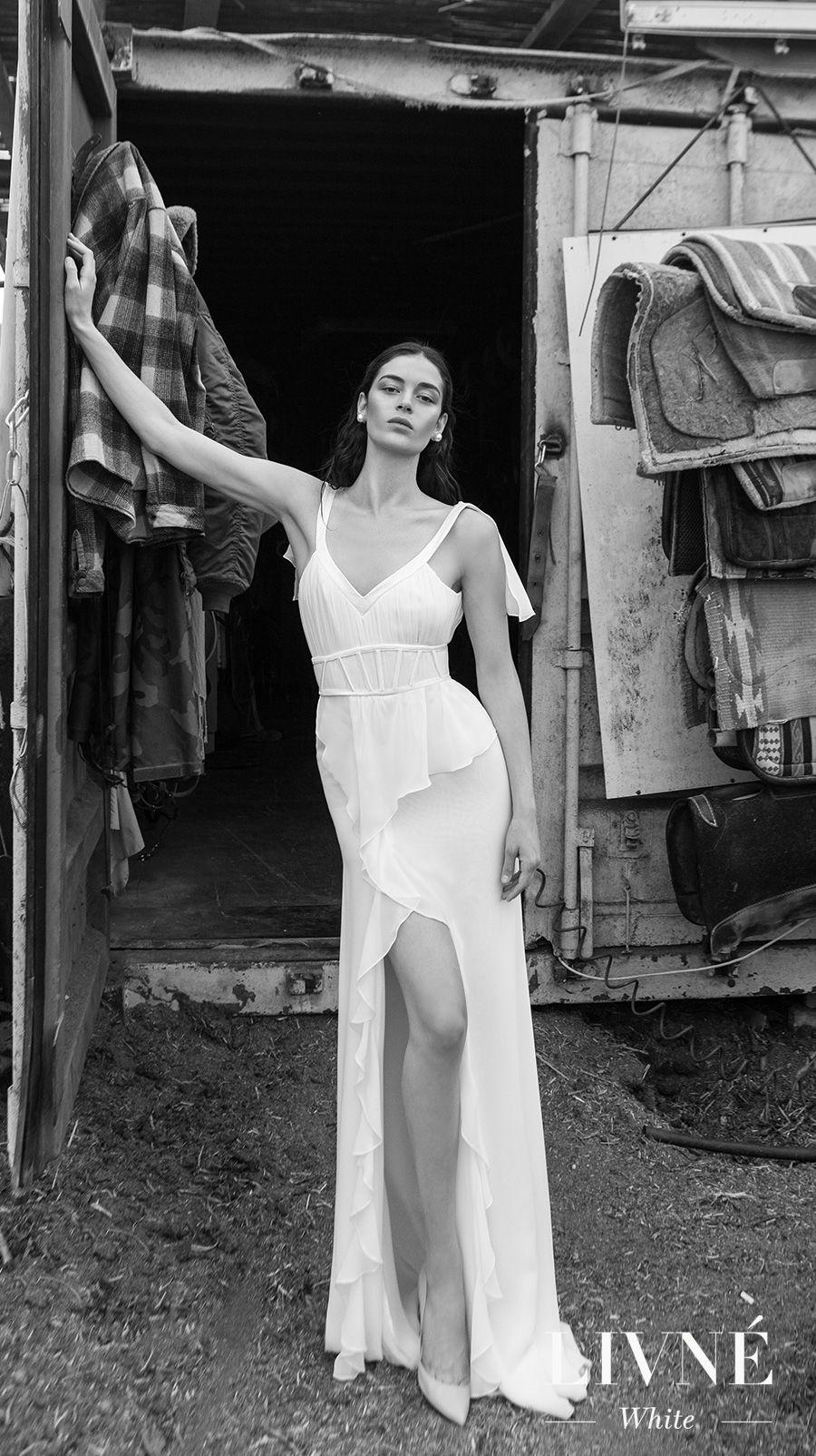 alon livne 2018 2019 white bridal sleeveless v neck pleated bodice ruffled slit skirt bohemian elegant sheath wedding dress low open back sweep train (gloria) mv