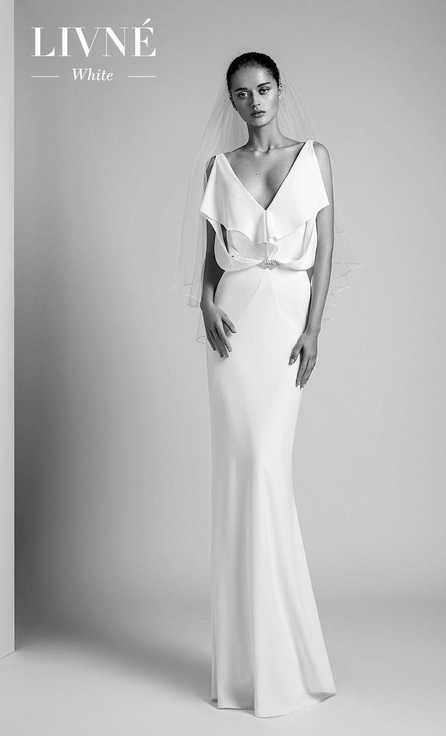 alon livne 2018 2019 white bridal sleeveless v neck simple clean elegant fit and flare wedding dress sweep train (orchid) mv