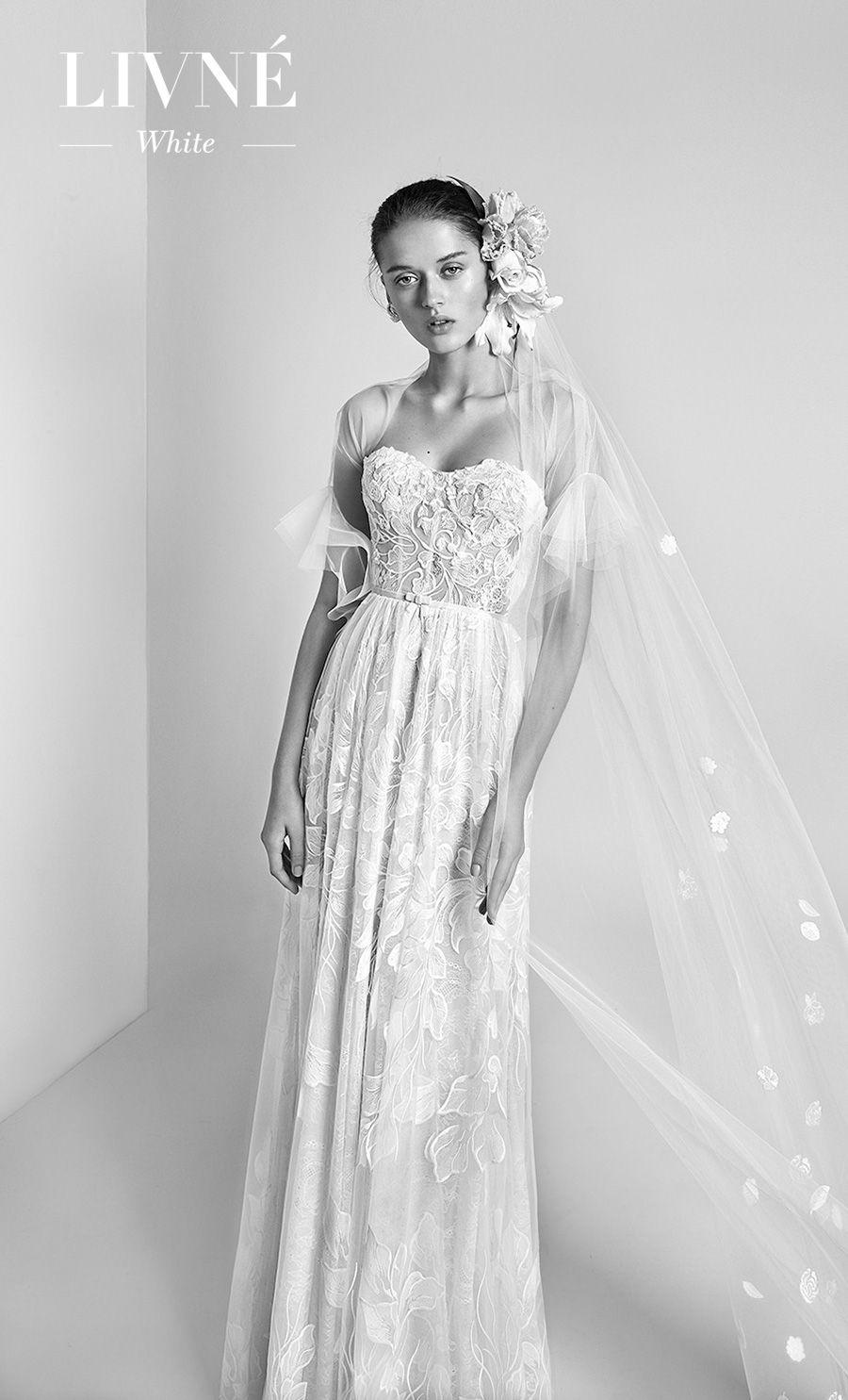 alon livne 2018 2019 white bridal strapless semi sweetheart neckline full embellishment romantic soft a  line wedding dress (layla) mv
