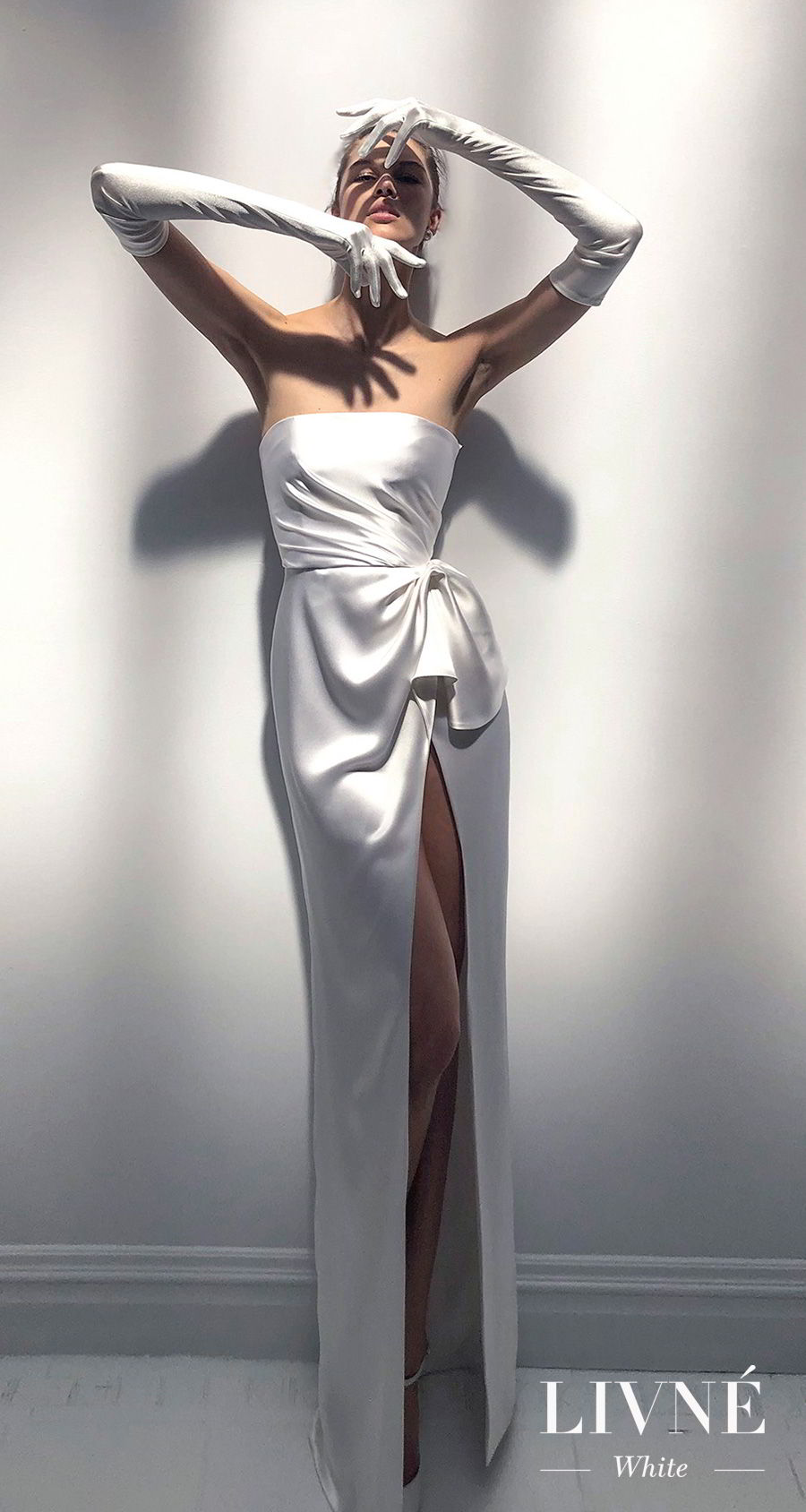 433ad3784 alon livne 2018 2019 white bridal strapless straight across neckline simple  minimalist high slit skirt elegant · Jackie fitted silk strapless corset  wedding ...