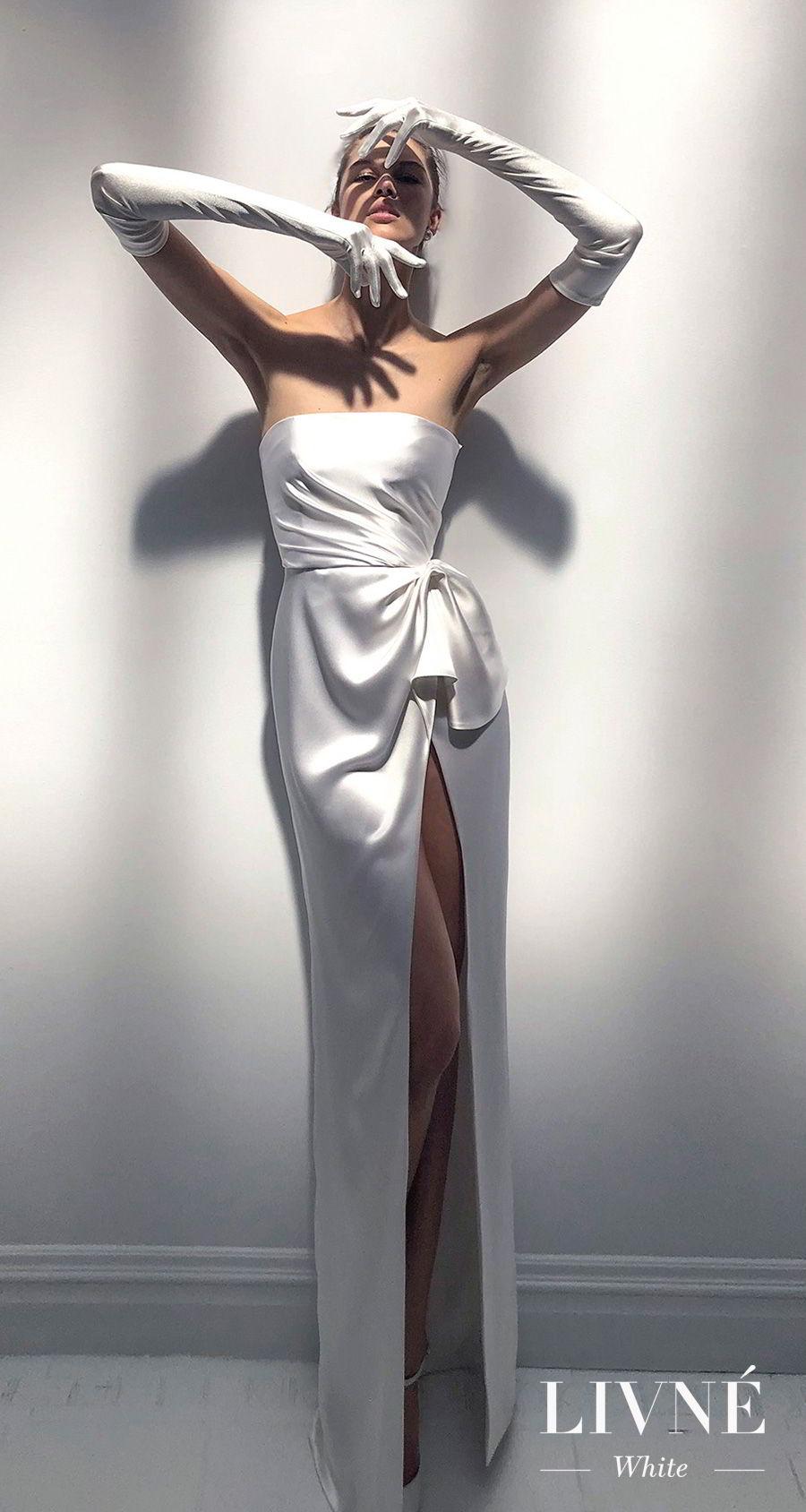 d305fa61 alon livne 2018 2019 white bridal strapless straight across neckline simple  minimalist high slit skirt elegant