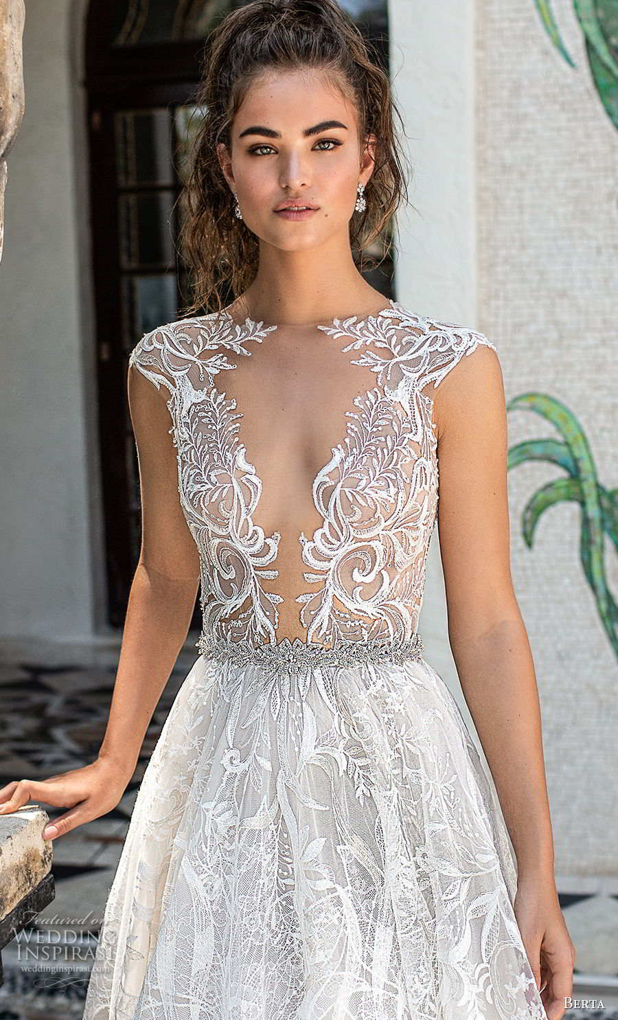 berta spring 2019 bridal cap sleeves deep plunging v neck full embellishment romantic glamorous a  line wedding dress sheer button back chapel train (4) zv