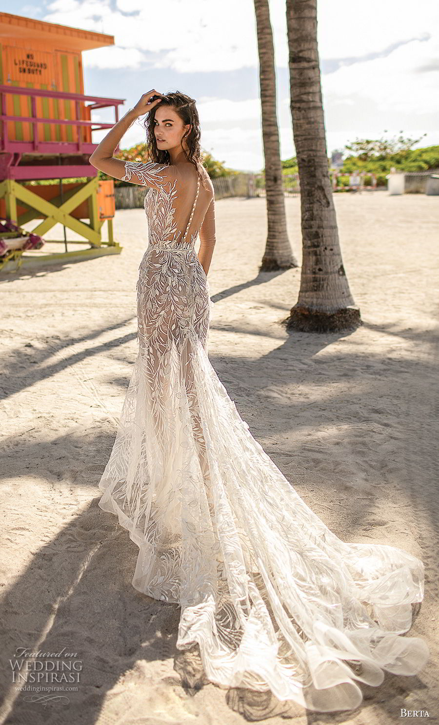 berta spring 2019 bridal long sleeves deep sweetheart neckline full embellishment sexy glamorous modified a  line wedding dress sheer button back chapel train (5) bv