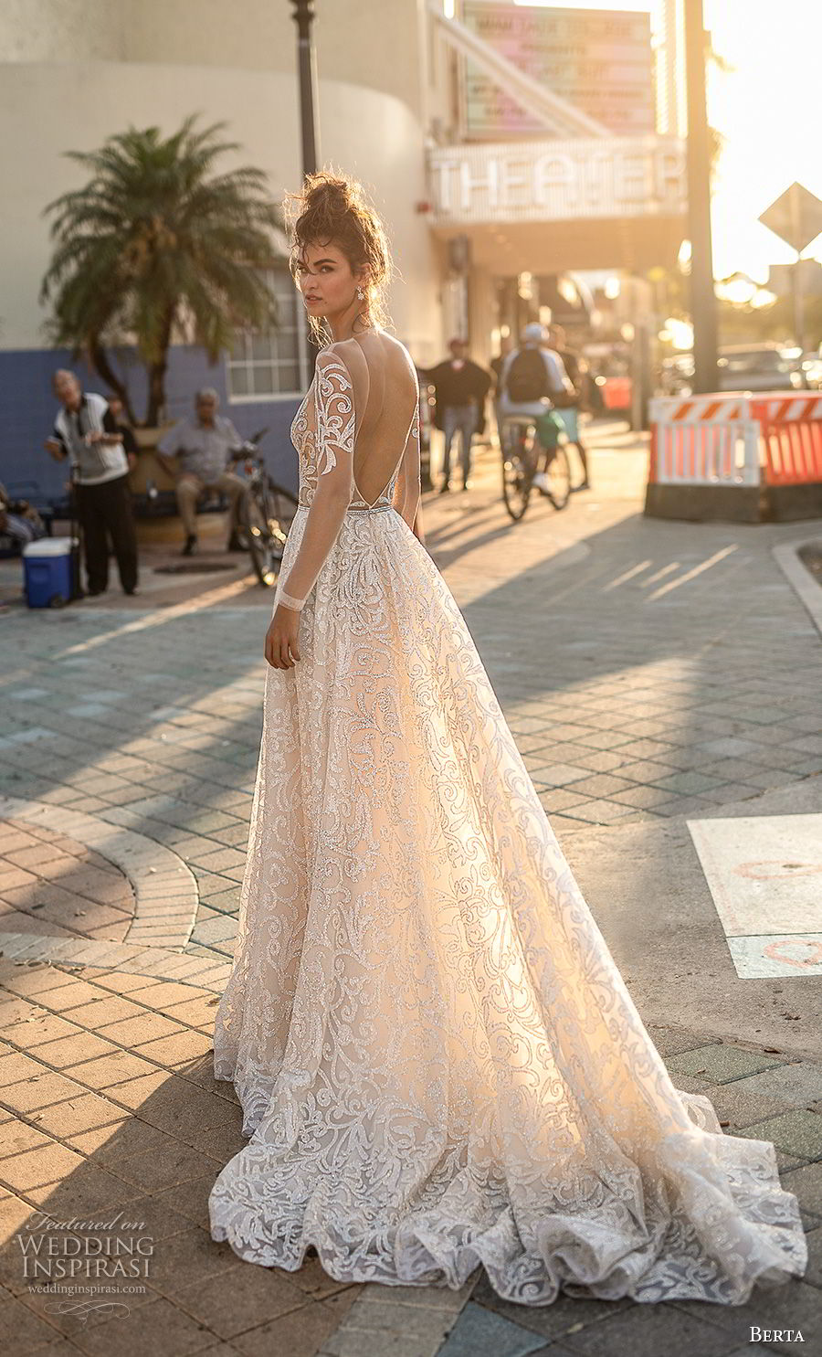 berta spring 2019 bridal long sleeves deep v neck full embellishment glizty glamorous a  line wedding dress open back chapel train (9) bv
