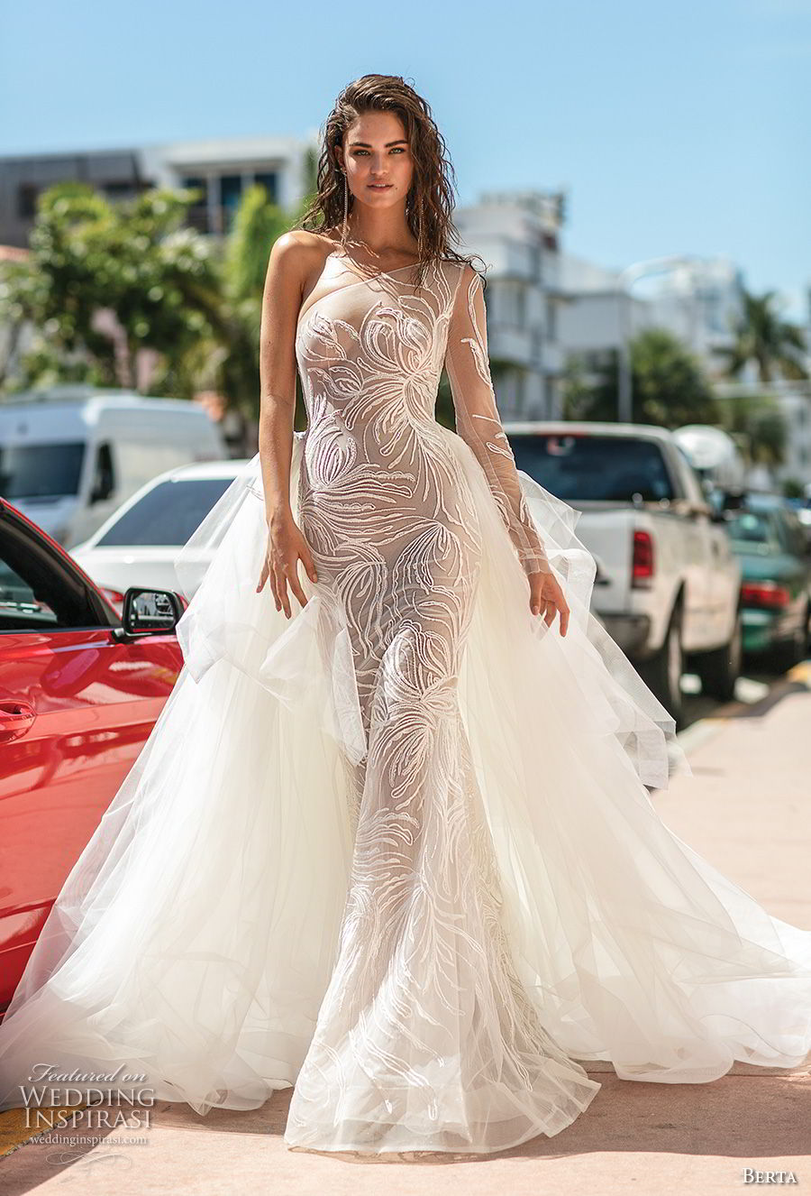 berta spring 2019 bridal long sleeves one shoulder neckline full embellishment tiered skirt romantic glamorous fit and flare wedding dress a  line overskirt chapel train (10) mv