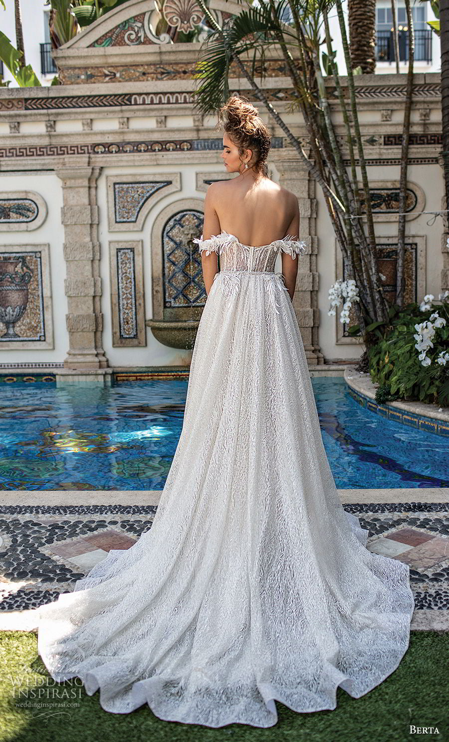 berta spring 2019 bridal off the shoulder straight across neckline heavily embellished bodice romantic a  line wedding dress chapel train (16) bv