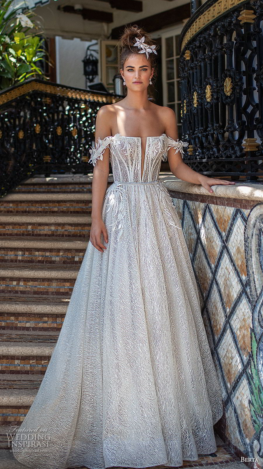 berta spring 2019 bridal off the shoulder straight across neckline heavily embellished bodice romantic a  line wedding dress chapel train (16) mv