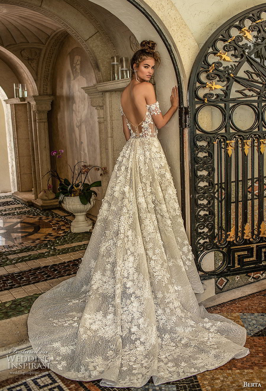 berta spring 2019 bridal off the shoulder sweetheart neckline full embellishment romantic a  line wedding dress open back chapel train (1) bv