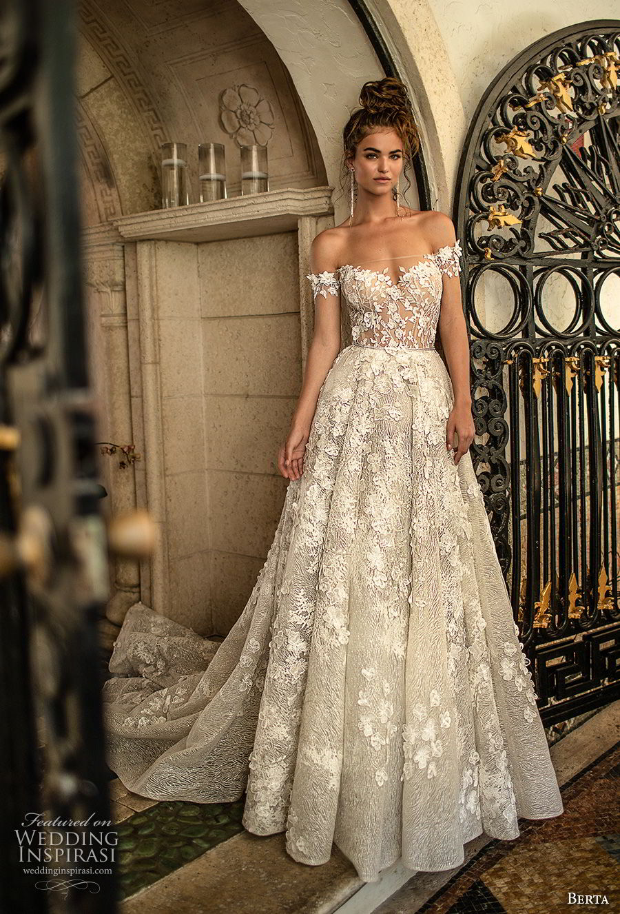 berta spring 2019 bridal off the shoulder sweetheart neckline full embellishment romantic a  line wedding dress open back chapel train (1) mv