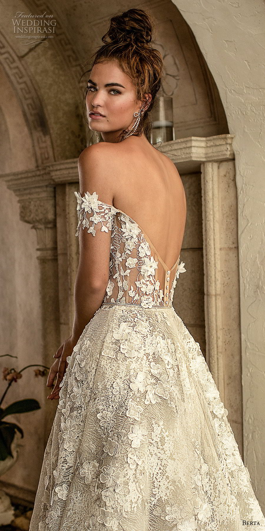 berta spring 2019 bridal off the shoulder sweetheart neckline full embellishment romantic a  line wedding dress open back chapel train (1) zbv