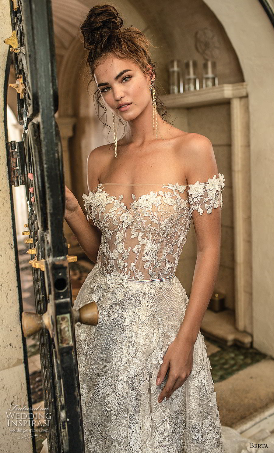 berta spring 2019 bridal off the shoulder sweetheart neckline full embellishment romantic a  line wedding dress open back chapel train (1) zv