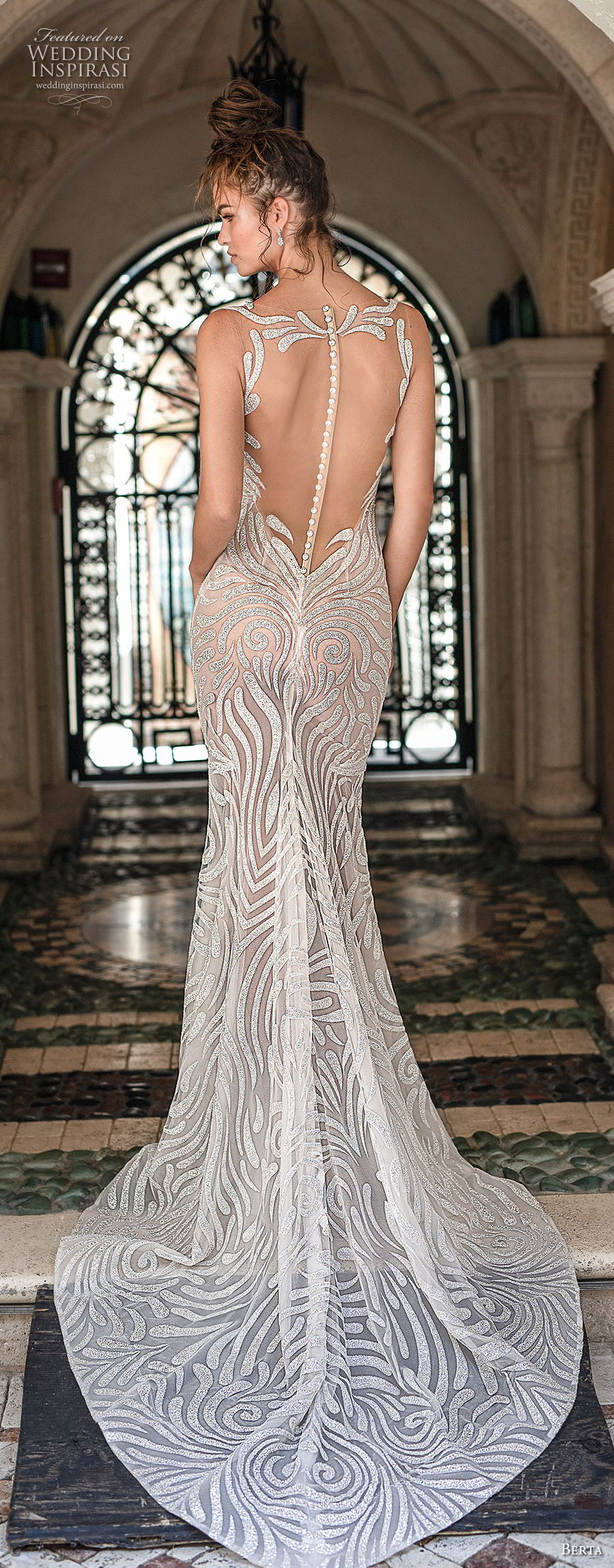 berta spring 2019 bridal sleeveless illusion bateau scoop neckline full embellishment elegant glamorous fit and flare wedding dress  sheer button back medium train (12) bv
