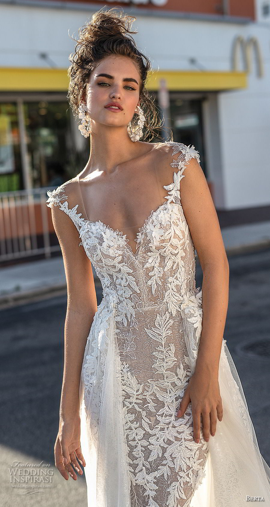 berta spring 2019 bridal sleeveless thin strap sweetheart neckline full embellishment elegant romantic fit and flare sheath wedding dress a  line overskirt open back (3) zv