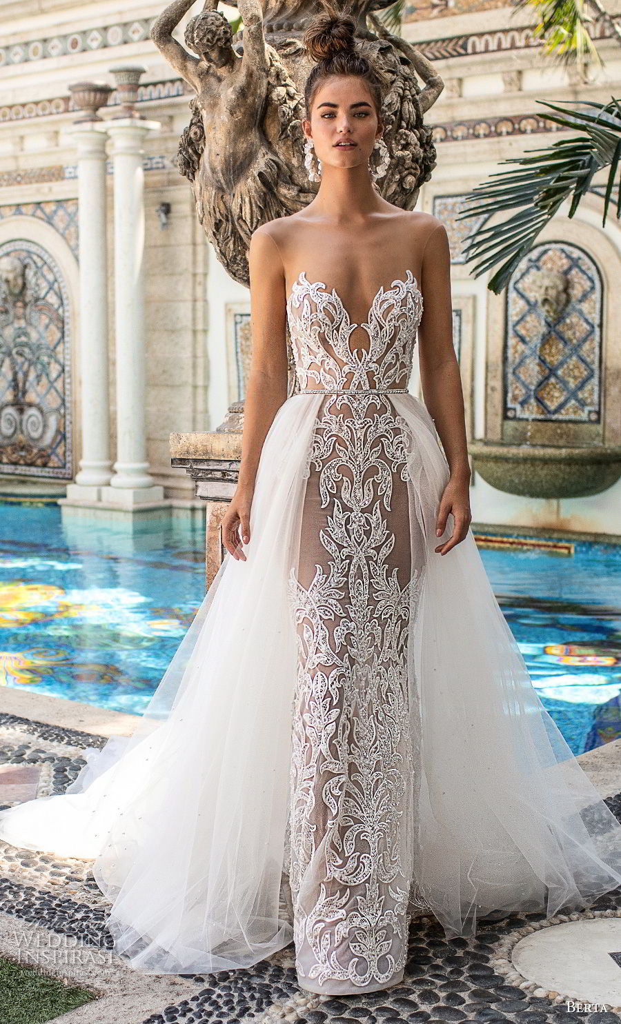 berta spring 2019 bridal strapless sweetheart neckline full embellishment elegant glamorous sheath wedding dress a  line overskirt open back chapel train (15) mv