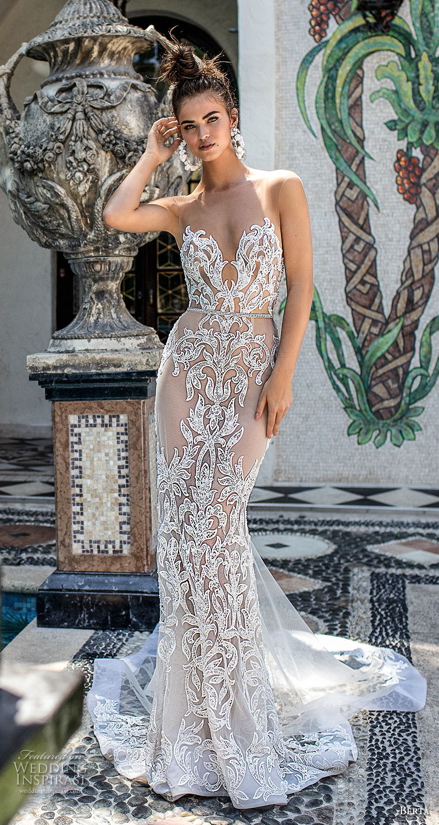 berta spring 2019 bridal strapless sweetheart neckline full embellishment elegant glamorous sheath wedding dress  open back chapel train (15) mv