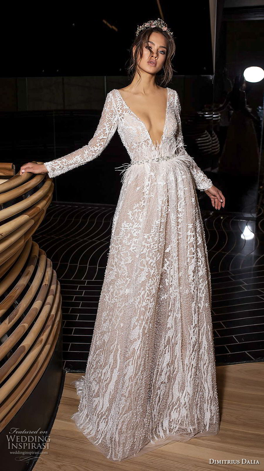dimitrius dalia 2018 royal long sleeves deep v neck full embellishment sexy glamorous a line wedding dress low open back (2) mv