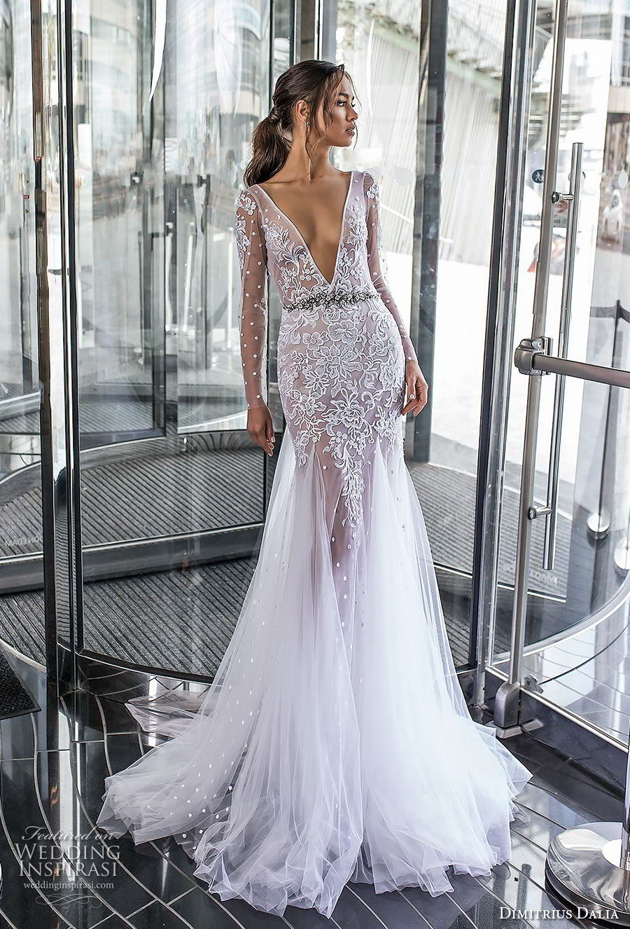 dimitrius dalia 2018 royal long sleeves deep v neck heavily embellished bodice tulle skirt sexy trumpet wedding dress chapel train (3) mv