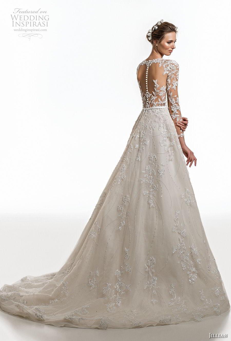jillian 2019 bridal along sleeves sweetheart neckline heavily embellised bodice elegant princess a  line wedding dress sheer button back chapel train (4) bv
