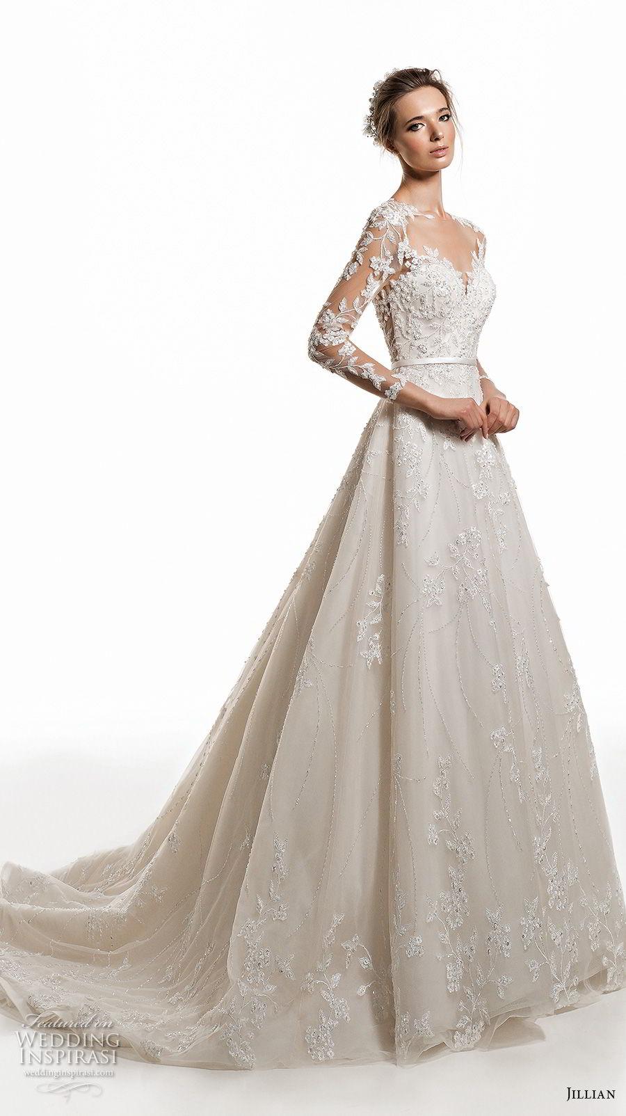 jillian 2019 bridal along sleeves sweetheart neckline heavily embellised bodice elegant princess a  line wedding dress sheer button back chapel train (4) mv