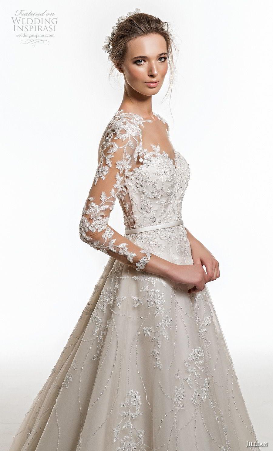 jillian 2019 bridal along sleeves sweetheart neckline heavily embellised bodice elegant princess a  line wedding dress sheer button back chapel train (4) zv