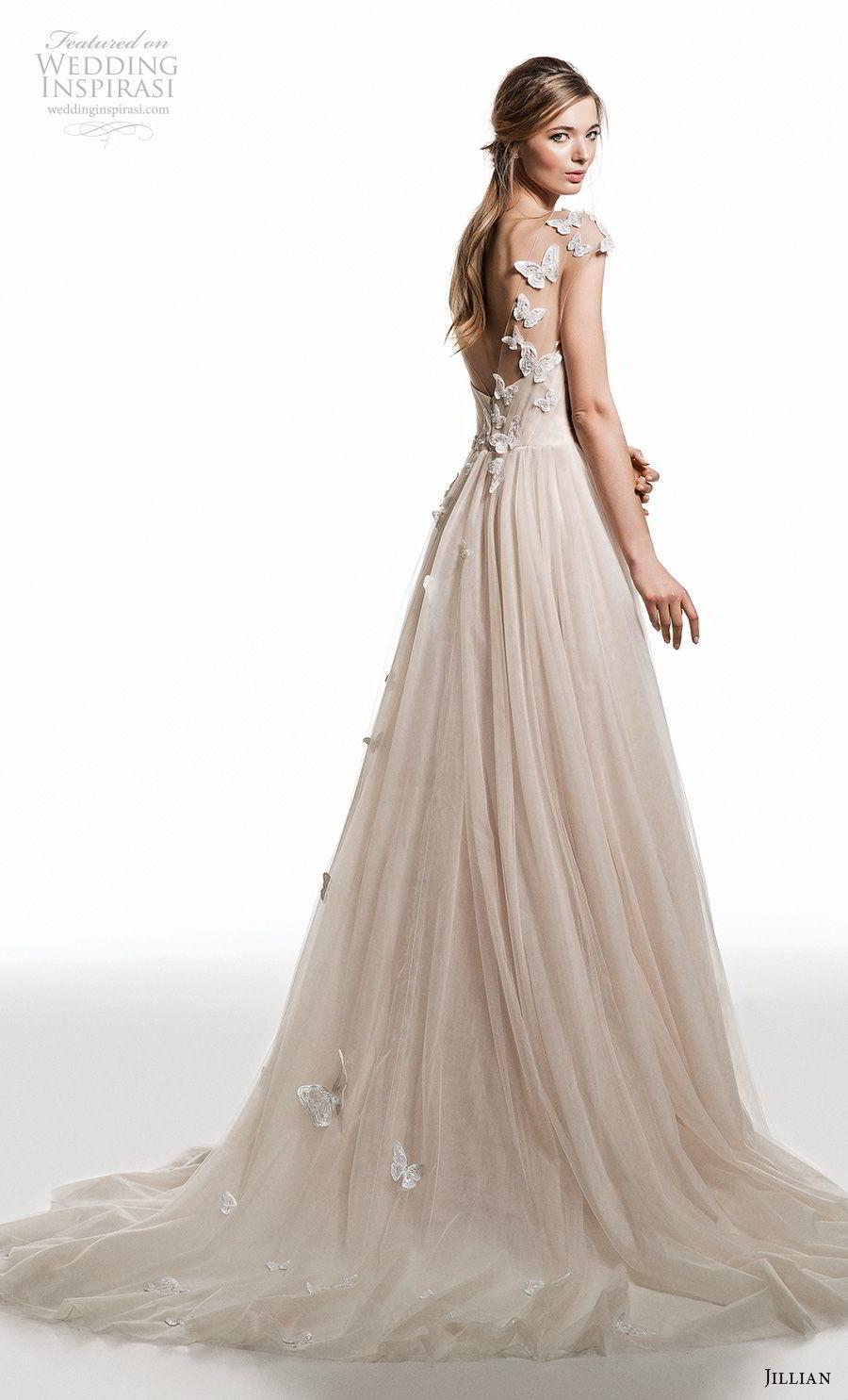 jillian 2019 bridal cap sleeves illusion bateau sweetheart neckline heavily embellished bodice romantic champagne modified a  line wedding dress open back medium train (5) bv