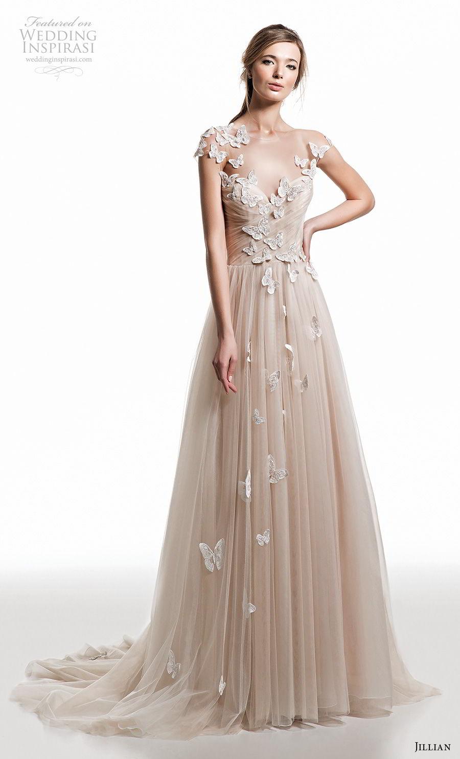 jillian 2019 bridal cap sleeves illusion bateau sweetheart neckline heavily embellished bodice romantic champagne modified a  line wedding dress open back medium train (5) mv