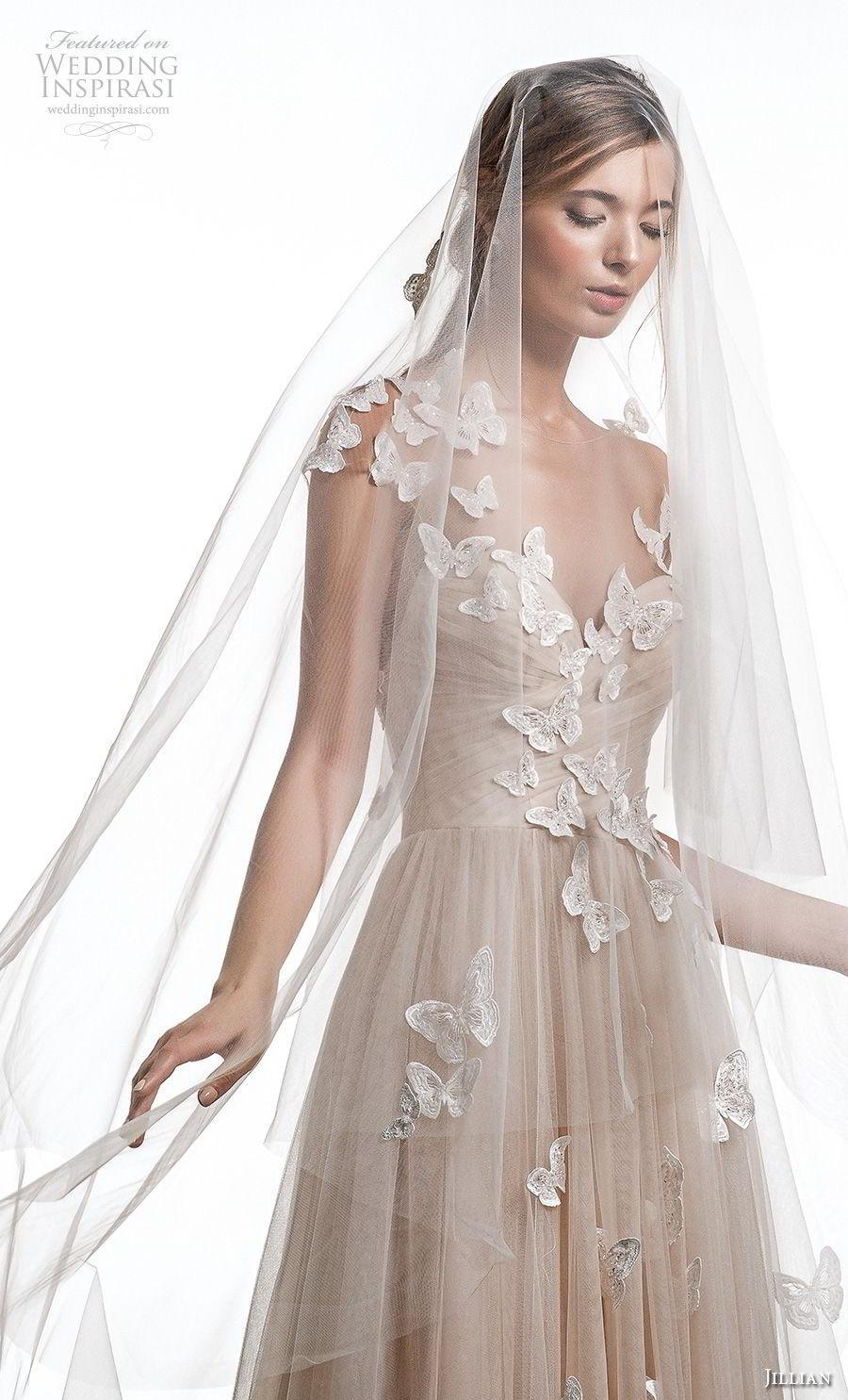 jillian 2019 bridal cap sleeves illusion bateau sweetheart neckline heavily embellished bodice romantic champagne modified a  line wedding dress open back medium train (5) zv