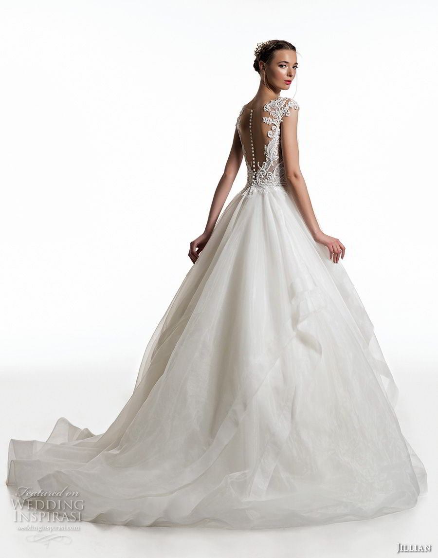 jillian 2019 bridal cap sleeves sweetheart neckline heavily embellished bodice layered skirt sheer button back chapel train (13) bv