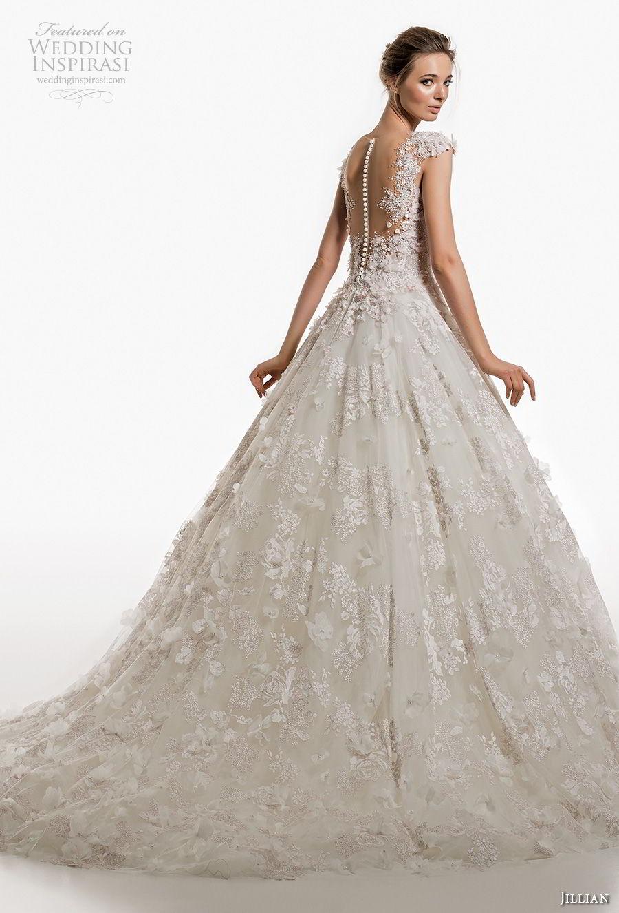jillian 2019 bridal cap sleeves v neck full embellishment romantic princess ball gown a  line wedding dress sheer button bcak chapel train (1) bv
