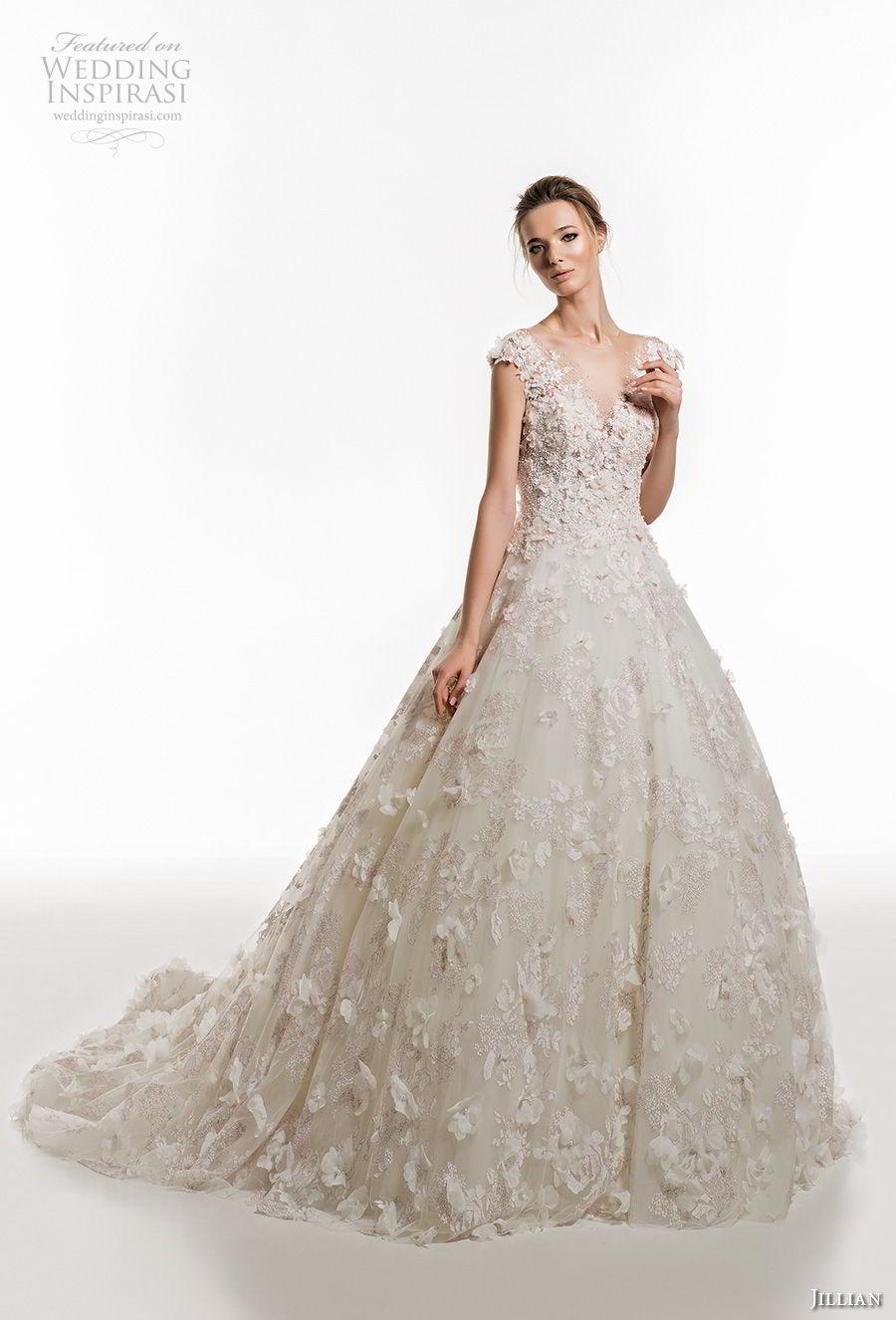 jillian 2019 bridal cap sleeves v neck full embellishment romantic princess ball gown a  line wedding dress sheer button bcak chapel train (1) mv