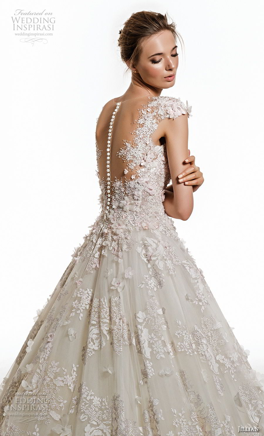 jillian 2019 bridal cap sleeves v neck full embellishment romantic princess ball gown a  line wedding dress sheer button bcak chapel train (1) zbv