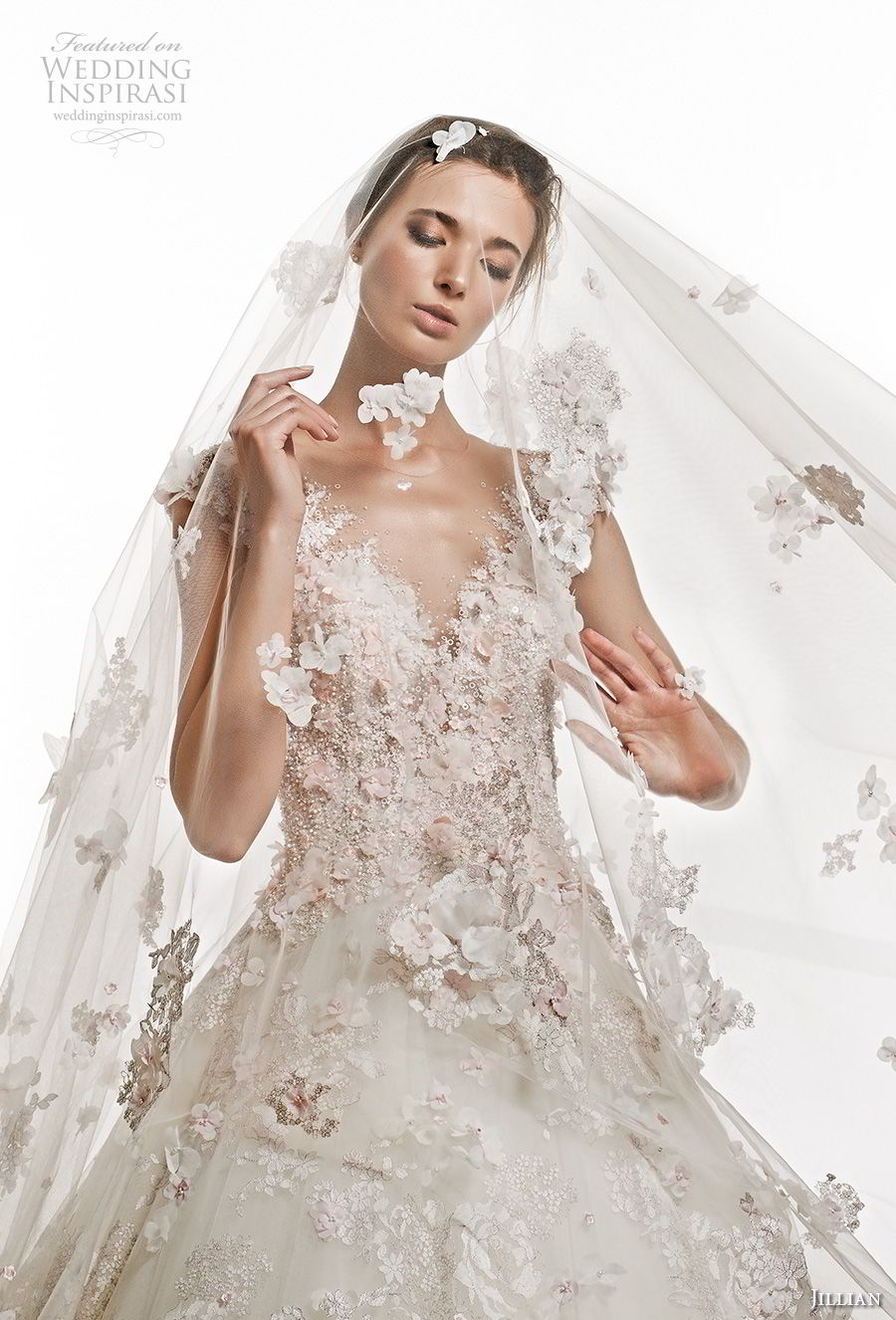 jillian 2019 bridal cap sleeves v neck full embellishment romantic princess ball gown a  line wedding dress sheer button bcak chapel train (1) zv