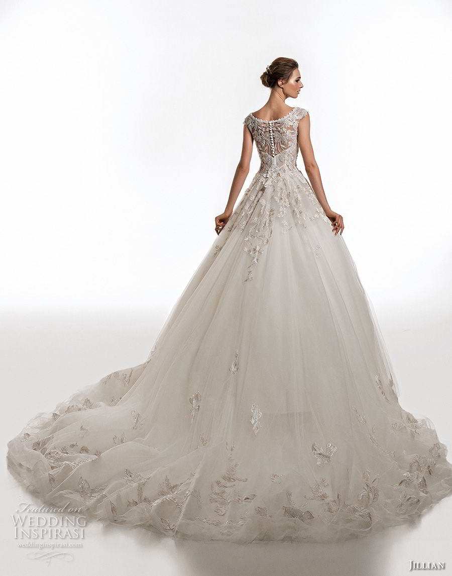 jillian 2019 bridal cap sleeves v neck heavily embellished bodice romantic ball gown a  line wedding dress lace back chapel train (17) bv