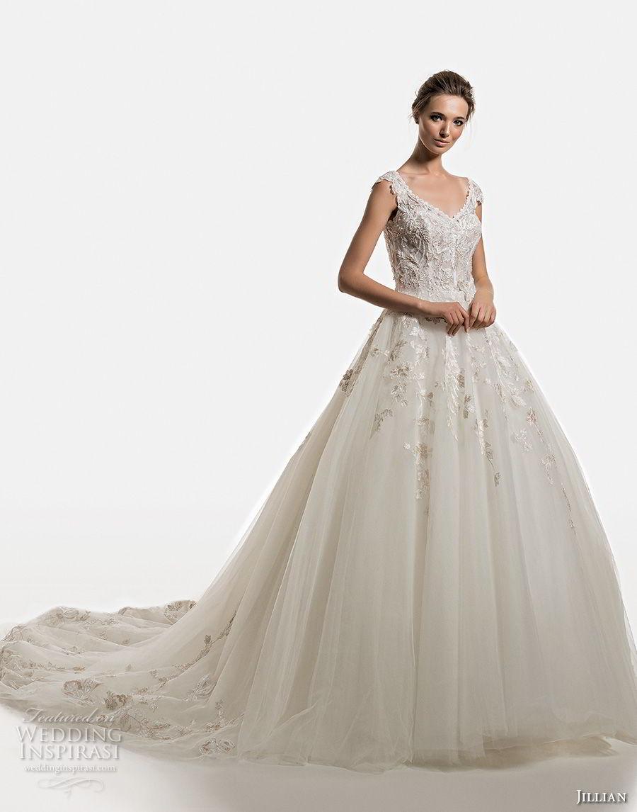 jillian 2019 bridal cap sleeves v neck heavily embellished bodice romantic ball gown a  line wedding dress lace back chapel train (17) mv