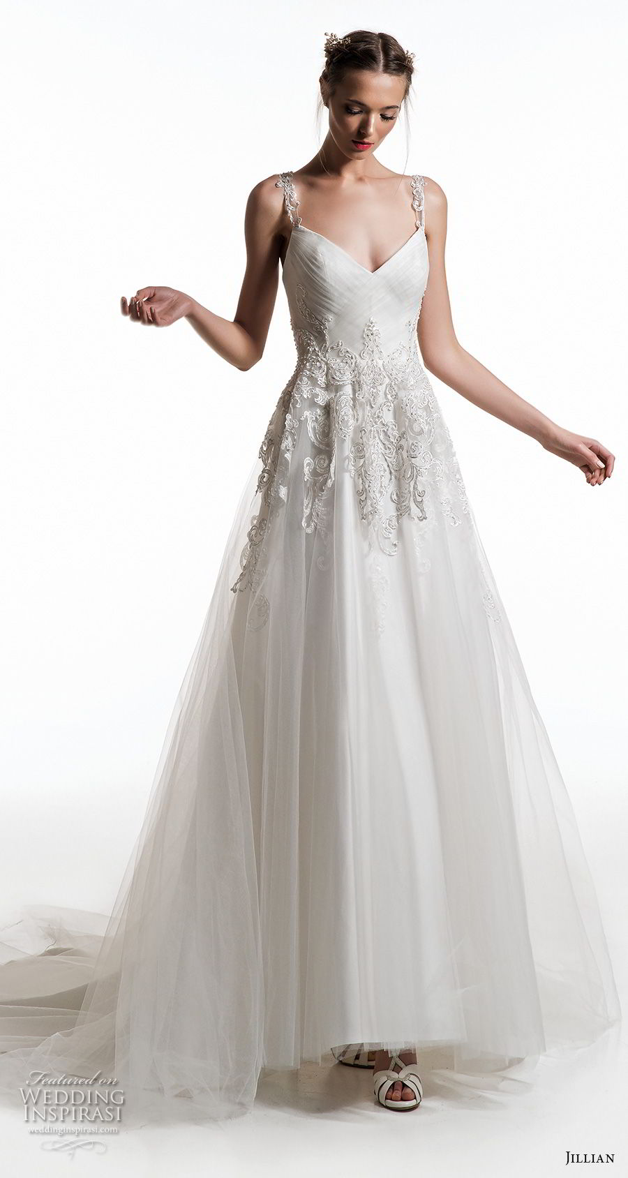 jillian 2019 bridal embellished strap diamond neck heavily embellished bodice romantic a  line wedding dress chapel train (18) mv