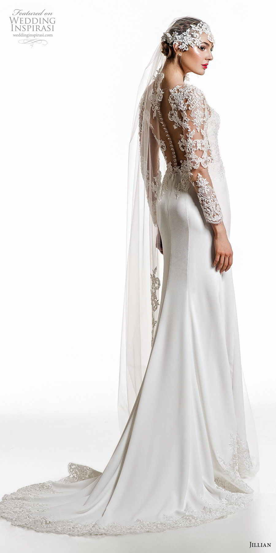 jillian 2019 bridal long sleeves deep plunging sweetheart neckline heavily embellished bodice elegant sheath wedding dress sheer button back short train (6) bv mv