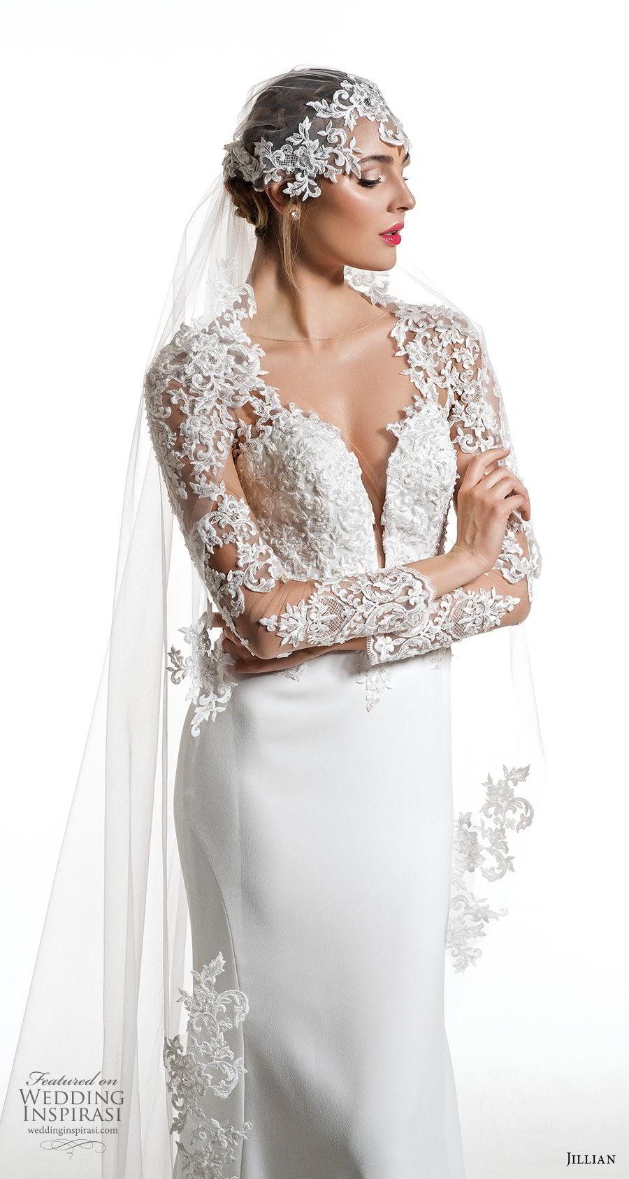 jillian 2019 bridal long sleeves deep plunging sweetheart neckline heavily embellished bodice elegant sheath wedding dress sheer button back short train (6) zv