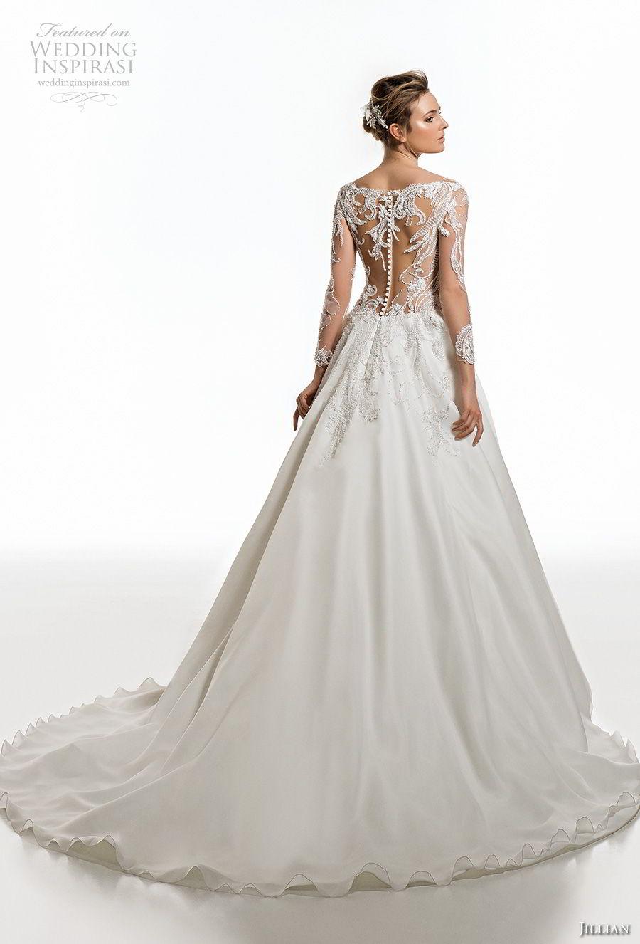 jillian 2019 bridal long sleeves deep plunging v neck heavily embellised bodice elegant glamorous a  line wedding dress sheer lace back chapel train (3) bv