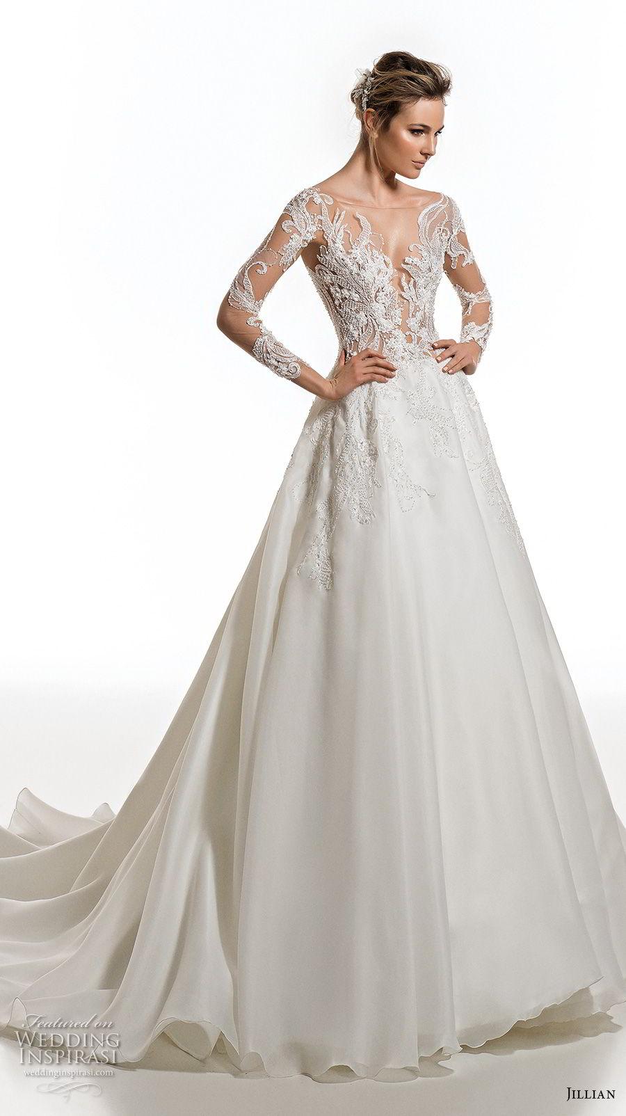 jillian 2019 bridal long sleeves deep plunging v neck heavily embellised bodice elegant glamorous a  line wedding dress sheer lace back chapel train (3) mv