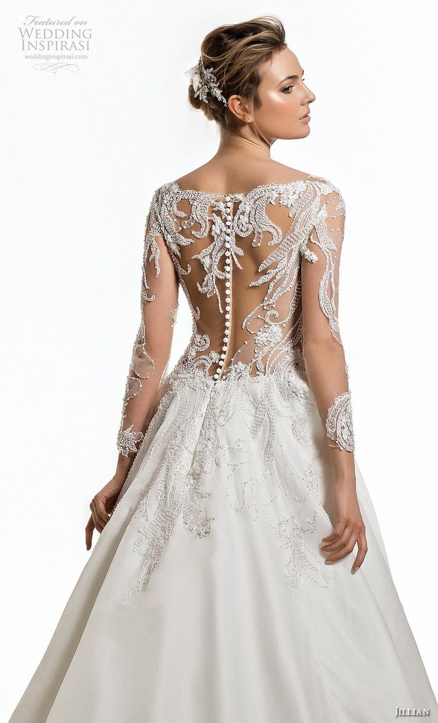 jillian 2019 bridal long sleeves deep plunging v neck heavily embellised bodice elegant glamorous a  line wedding dress sheer lace back chapel train (3) zbv