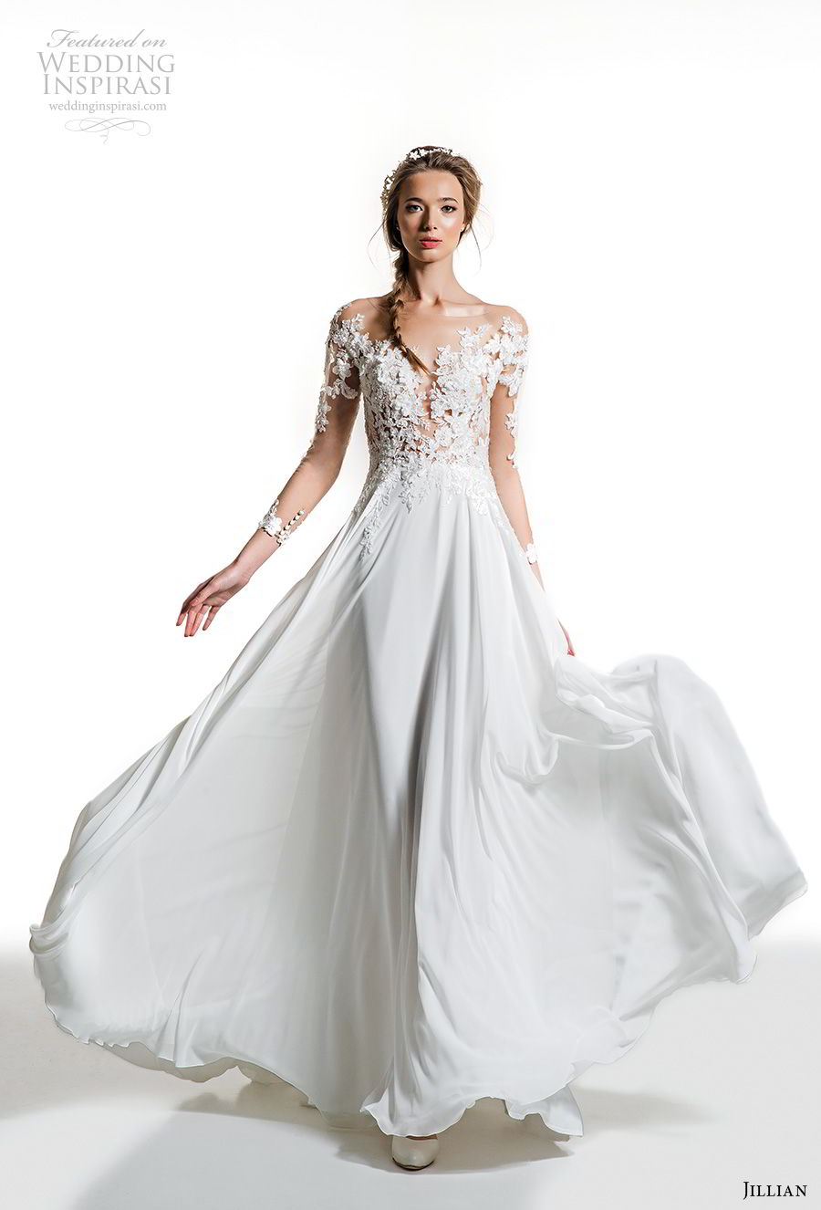 jillian 2019 bridal long sleeves illusion bateau plunging sweetheart neckline heavily embellished bodice romantic soft a  line wedding dress (8) mv