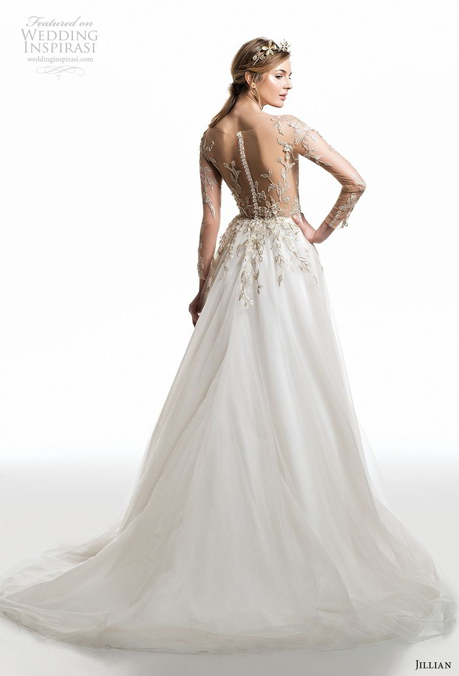 jillian 2019 bridal long sleeves v neck heavily embellished bodice romantic a  line wedding dress sheer button back medium train (10) bv