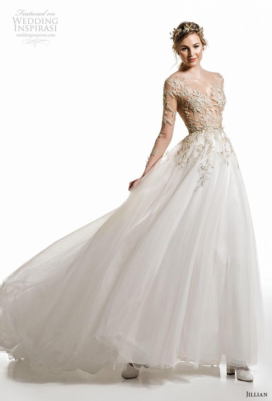 jillian 2019 bridal long sleeves v neck heavily embellished bodice romantic a  line wedding dress sheer button back medium train (10) mv