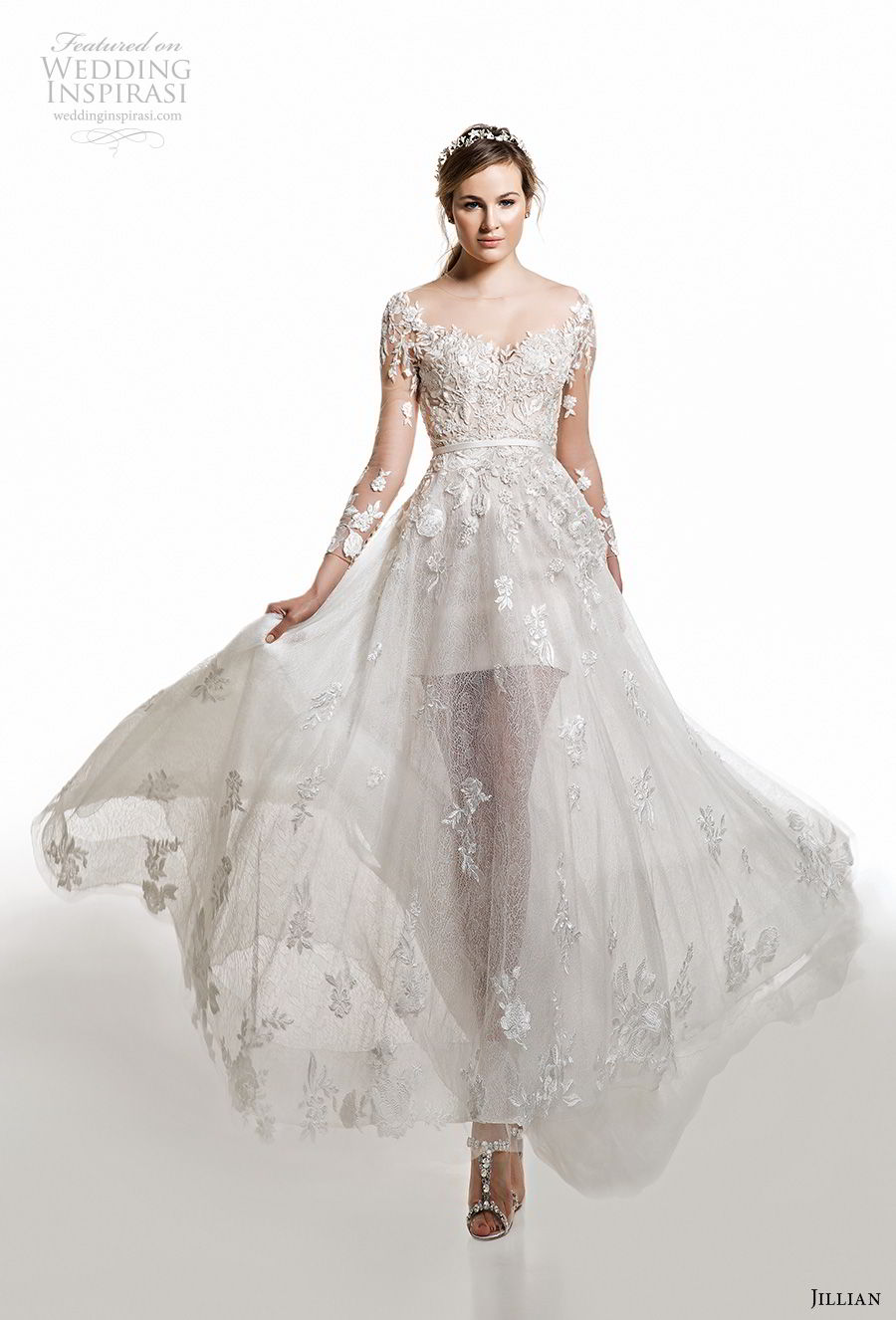 jillian 2019 bridal long sleeves v neck heavily embellished bodice sheer skirt romantic a  line wedding dress (20) mv