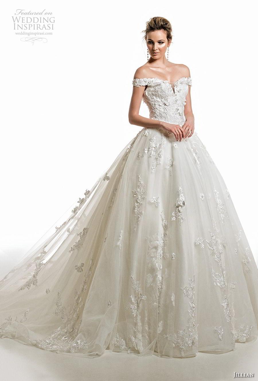 jillian 2019 bridal off the shoulder sweetheart neckline heavily embellished bodice princess romantic ball gown wedding dress royal train (2) mv