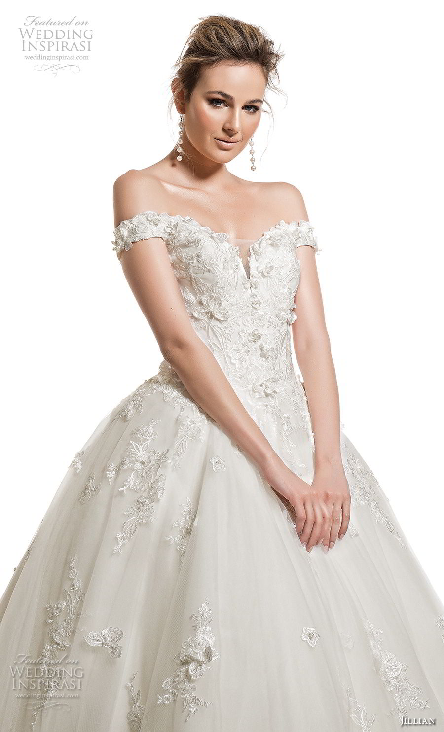 jillian 2019 bridal off the shoulder sweetheart neckline heavily embellished bodice princess romantic ball gown wedding dress royal train (2) zv