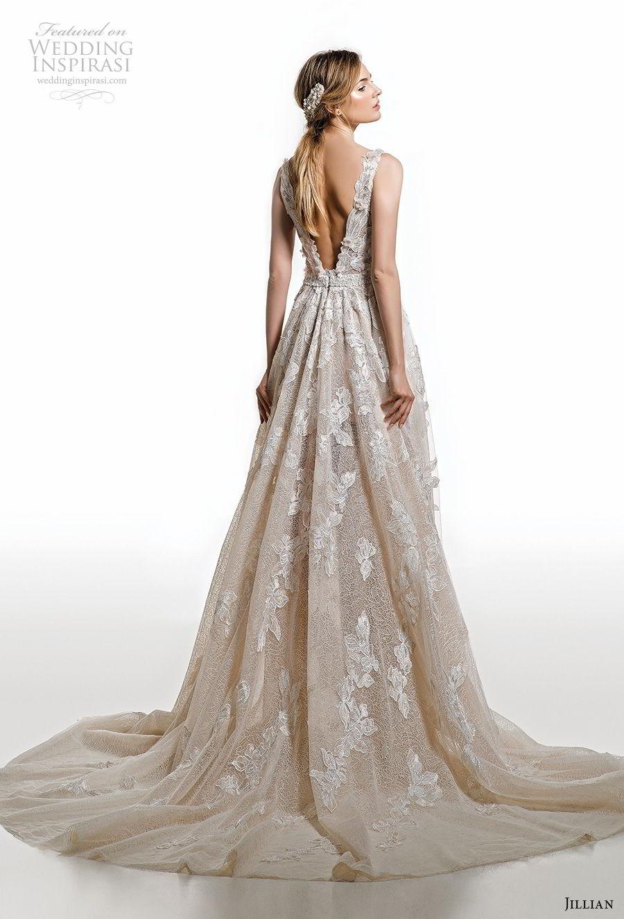 jillian 2019 bridal sleeveless deep v neck full embellishment romantic champagne ivory a  line wedding dress open v back chapel train (16) bv