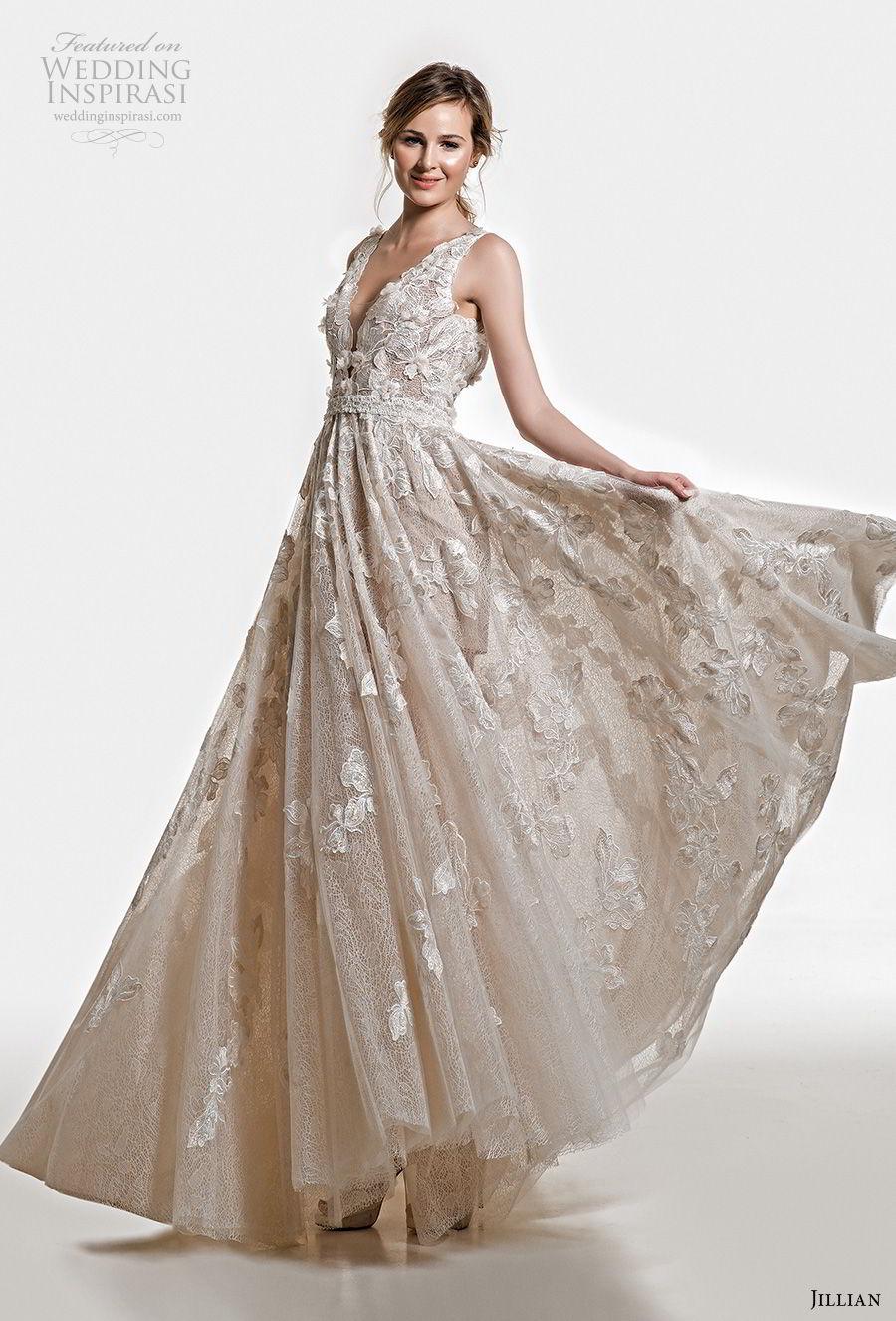 jillian 2019 bridal sleeveless deep v neck full embellishment romantic champagne ivory a  line wedding dress open v back chapel train (16) mv