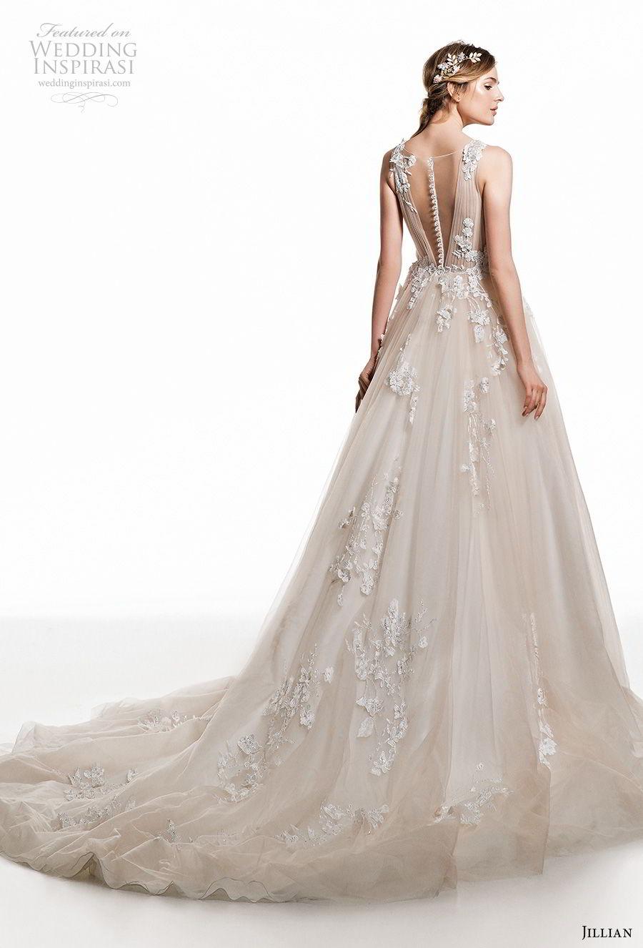 jillian 2019 bridal sleeveless deep v neck heavily embellished bodice romantic champagne a  line wedding dress sheer button back chapel train (12) bv